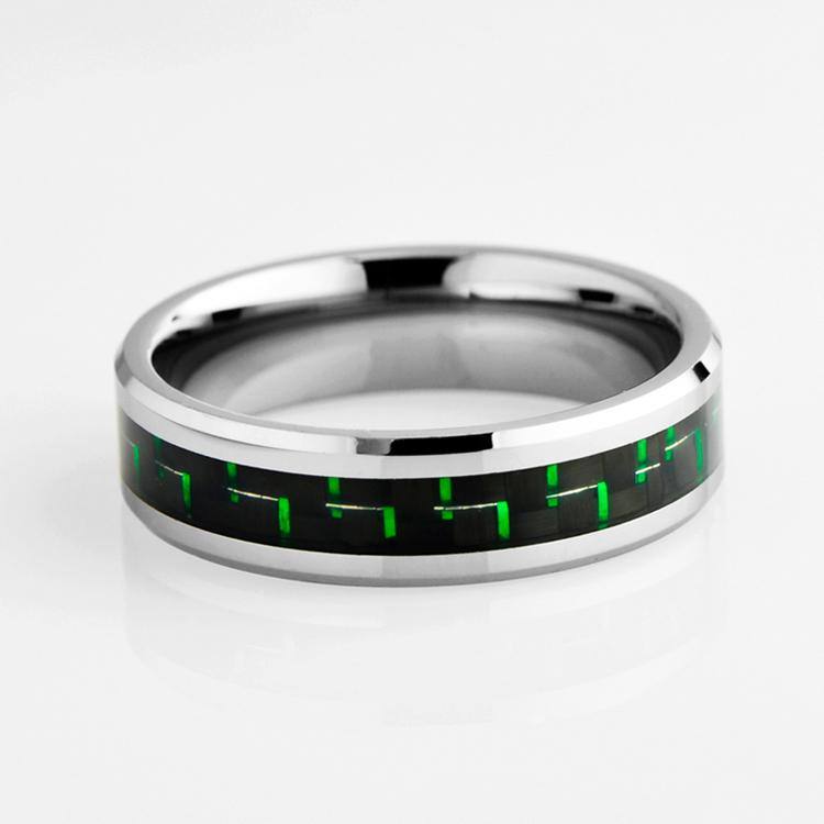 Tungstênio casamento da faixa com Black & Green carbono Inlay(China (Mainland))