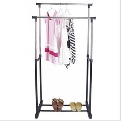 Double racks lifting drying rack floor folding stainless steel clothes hanger(China (Mainland))