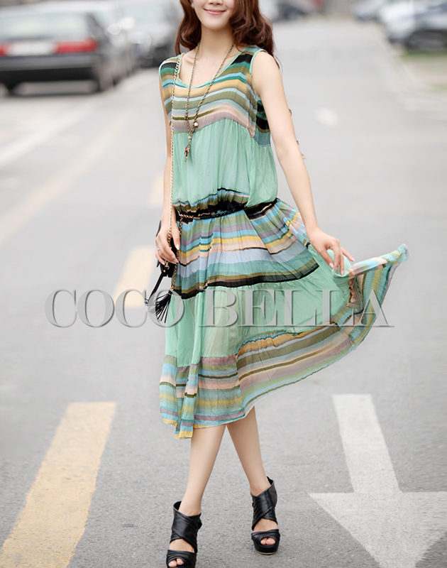 2013 hot sale summer elegant stripe o-neck chiffon vest one-piece dress green mung beans fresh full dress free shippingZMX6013(China (Mainland))