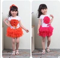 Baby B2W2 short sleeve stereo flower Peng-Peng gauze dress