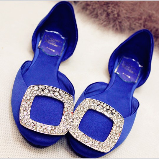 2013 spring new arrival satin fabric rhinestone side buckle square toe flat heel single shoes navy blue flat female shoes(China (Mainland))