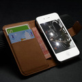 Genuine smooth leather case for Iphone4g 4S smart multi case for iphone 4s with wallet card holder flip cover for iphone4 + gift