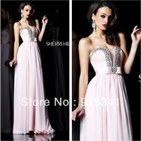 Hot Sale New Design Empire Sweetheart Beaded Modest Neckline Chiffon Full Length Light Pink Prom Dress
