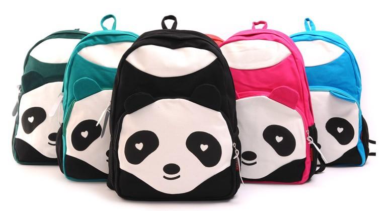 6 цветов panda рюкзак Холст моды путешествия сумка школьная сумка