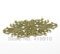 "Free shipping-30PCs Antique Bronze Filigree Flower Wraps Connectors Embellishments Findings 8.5x3.4cm(3-3/8""x1-3/8"")  M00688"