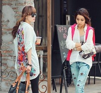 2013  fashion summer new women European vintage back flowers printing casual long-sleeve chiffon shirt long blouse tops white