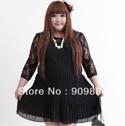 3M187, Plus size Dress, Lace sleeve high waist Venetian blinds fold chiffon dress. Black.(China (Mainland))