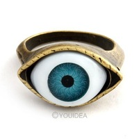 Free Shipping~10pcs Punk Fashion Jewelry 2013 Antique bronze and Retro Gold Lucky Evil Eye Ring Women's Jewelry