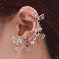 Fashion punk women earrings cuff earring dragonfly ear clip crystal earrings 100% Excellent Quality[order>$10 free shipping ]