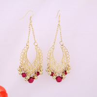 Free shipping the European and American fashion exquisite black golden tassels beads earrings