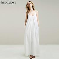 Free shipping!2014 HOT sale 100% cotton ultra long spaghetti strap full dress white sexy 2 color
