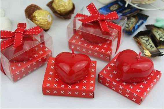 Free shippingRomantic Red Heart Shape Candle For Wedding Party Valentine Day Gift , wedding favor(China (Mainland))