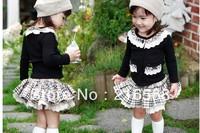 Retail 1set New 2013 autumn Korean 1-3year children's wear girls cotton long-sleeved coat+skirt 2-piece suit LJ157