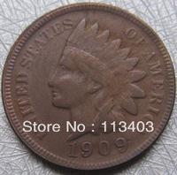 FREE SHIPPING wholesale Replica 1909-S  Indian head cents coin copy 100% coper manufacturing