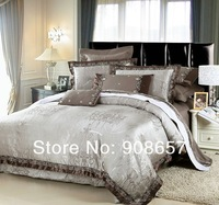 Grey Europe pattern luxurious bedding set 10 pcs Queen bed in a bag set Quilted sheet Jacquard Satin Cotton quilt/duvet covers