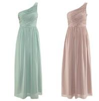 XS-XXL Mint Green Pink One Shoulder Chiffon Prom Dresses Sexy Evening Party Long Celebrity Dress Women  2014 Summer New Fashion