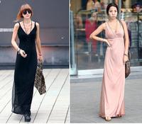 new 2014 women summer dress modal cotton high waist deep V-neck ultra long patchwork sexy full beach slim beach dresses A90187