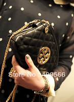Embroidery round 2013 new fashion hot sale chain messenger women's handbag cluth tote bag high quality black FREE SHIPPING