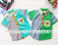 2color 4pcs/lot baby boy summer shirt M label striped casual style baby clothing baby shirt boy wear 130429i free shipping