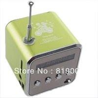 New Fashion Green Micro USB Mini Speaker Music Player Portable FM Radio Stereo PC Mp3 750093