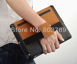 Fashion Multi function PU leather smart case for iPad 2,3,4, with hand held, free shipping,5pcs/lot(China (Mainland))