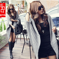 Fashion casual women sweater cardigan shoulder cape type batwing loose plus size needle autumn and winter sweater cardigan