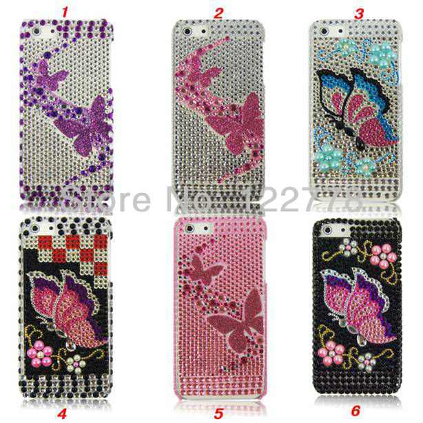 Super Luxury Crystal Butterfly Loving heart Bling Bling Diamond Hard Plastic Case for iPhone 5(China (Mainland))