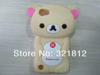 3D Rilakkuma bear case for Apple ipod touch 5 5th 5g Cute Cartoon lovely soft silicone cases skin 1pcs Free shipping hk post