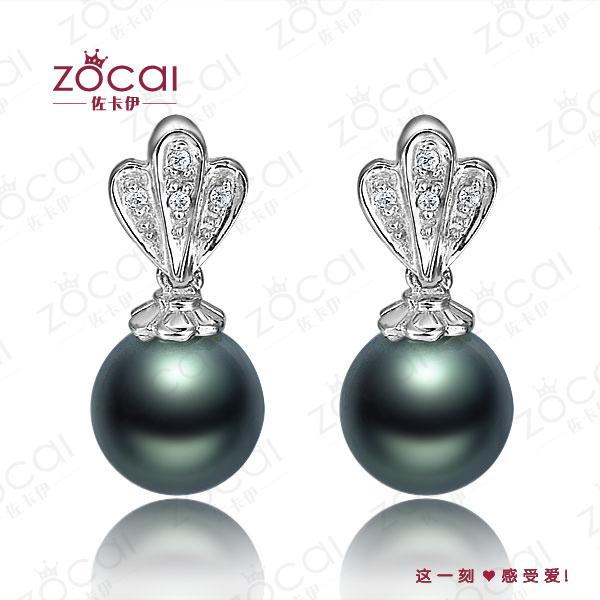 zocai модные 8-9 мм природных Таитянский черный жемчуг 0.003 ct Алмазный сплошной 18k белого золота капля Серьги Бижутерия Серьги на английском замке