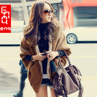 New arrival 2012 winter batwing type edge zipper-up hooded thickening maomao sweater outerwear female  Free Shipping