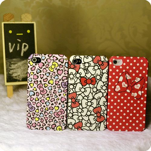 Vip . shop for iphone general lovers phone case polka dot young girl bow(China (Mainland))