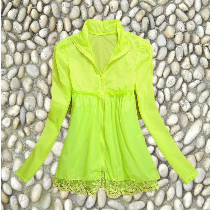 Korean version of the candy-colored collar thin thin windbreaker jacket multicolor sun protection clothing lace sun protection c(China (Mainland))