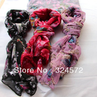 Free shipping fashion scarf with print butterfly