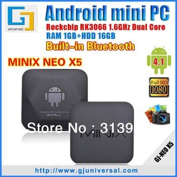 Original MINIX NEO X5 TV Box RK3066 Dual Core Cortex A9 1G/16G Wifi bluetooth with Remote Android smart tv box HKPM freeshipping