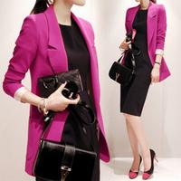 free shipping Spring rose women's 2014 medium-long slim small suit jacket ol blazer