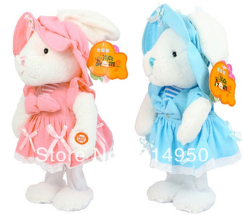 2013  Animal Rabbit Multi-fonction Music Dance Plush Lace Dress Doll Baby Early Education Electronic Pets Toys Gilrs Gift