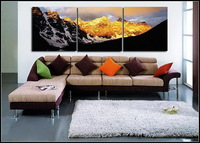 Hand-painted oil paintings, gold mountain, wall decoration painting 3 p combination of modern pop