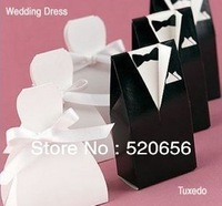 Free shipping tuxedo and gown  wedding favour candy boxes bridal and groom candy gift boxes wedding candy box 100pcs/lot