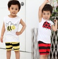 Free shipping Children's clothing summer male child set bee ladyfly short-sleeved tops stripe shorts baby two-piece tshirt suits