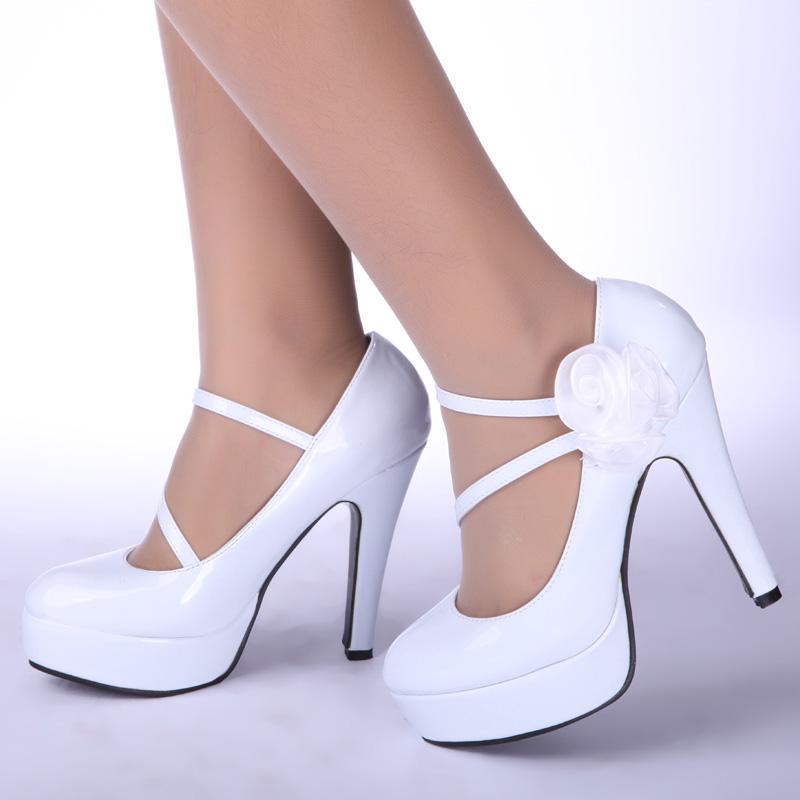 Japanned leather , bling luxury wedding shoes white high-heeled shoes , the bride wedding dress formal dress wedding shoes 13(China (Mainland))
