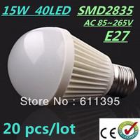 Free FEDEX and DHL 20pcs/lot Bubble Ball Bulb SMD2835 15/25/35/40LED 6W/9W/12W/15W E27 High power Energy Saving Ball steep