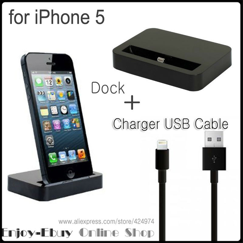 Dock Charger 2 in 1 Set (Base Dock Charger + USB Sync Data / Charging Cable) support IOS 7 for iPhone 5/5S iTouch 5(China (Mainland))
