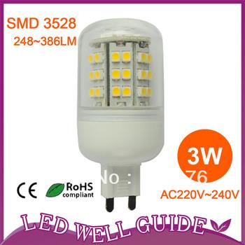 wholesale 220V 280LM 3W G9 Lamp 48 SMD3528 LED Corn Light Bulb Lamp Warm White/Cool White LED Spot light Free shipping DHL/FEDEX