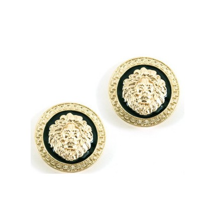 Fashion Women Celebrity Inspired Jewelry Gold Plated Black Enamel Big Metal Round Lion Head Coin Stud Earrings(China (Mainland))