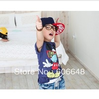 free shipping Boy MICKEY Clever with Glasses short sleeves T-shirt Finger Mouse T-shirt Tees DONT BURST MY BUBBLE TEES