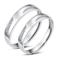 Moon Wings White Gold Plated Sterling Silver CZ's Adjustable Open Rings set RK09