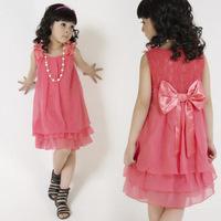 2014 Summer Chiffon Kids Lace Dress Girl's A-Line  Bowknot Wedding Dress Beading Necklace Princess Dress 3 Colors GD001