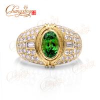 1.21ct Natural Green Tsavorite Garnet 18kt Gold Diamond Engagement Gorgeous Ring, Free Shipping