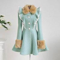 Mint green ruffle lace thick wool fur collar wool coat outerwear women's