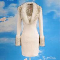 Winter white silver deep V-neck fur collar ladies elegant woolen tight one-piece dress